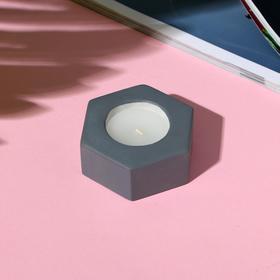 Свеча в подсвечнике (ручная работа) «Серый», 7 х 3 х 8 см
