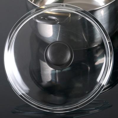 Крышка для сковороды и кастрюли стеклянная, d=22 см, прессованная, низкая, пластиковая ручка - Фото 1