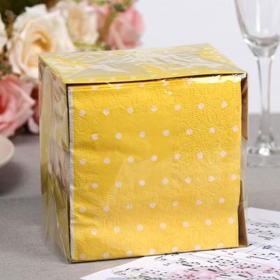 Салфетки бумажные жёлтые «Перышко. В горошек», 2 слоя, 24*24 см, 85 шт., микс - Фото 1