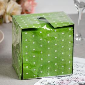 Салфетки бумажные зелёные «Перышко. В горошек», 2 слоя, 24*24 см, 85 шт.