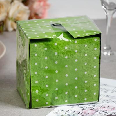 Салфетки бумажные зелёные «Перышко. В горошек», 2 слоя, 24*24 см, 85 шт. - Фото 1