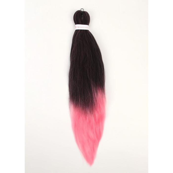SIM-BRAIDS Канекалон двухцветный, гофрированный, 65 см, 90 гр, цвет чёрный/розовый