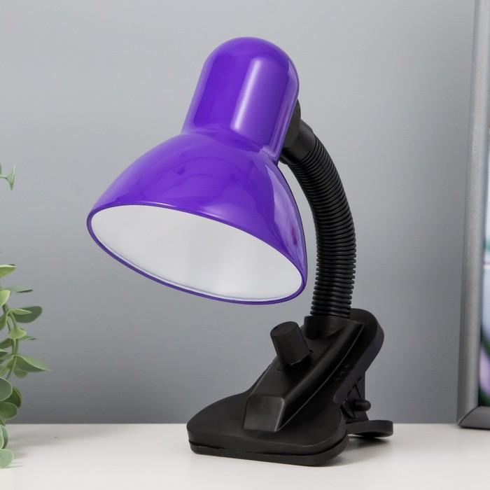 Лампа настольная Е27, светорегулятор, на зажиме (220В) фиолетовая (108А)