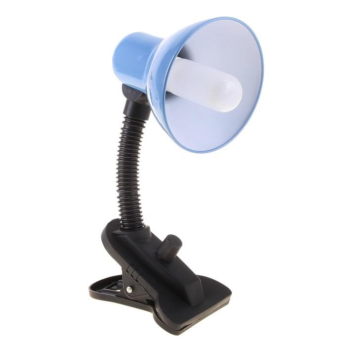 Лампа настольная Е27 , светорегулятор, на зажиме (220В) голубая (108А)