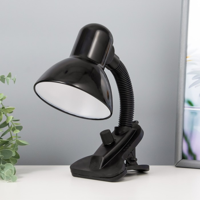 Лампа настольная Е27, светорегулятор, на зажиме (220В) черная (108А)