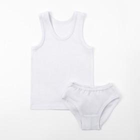 Комплект для девочки (майка, трусы), цвет белый, рост 122-128 см