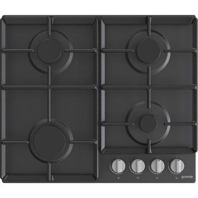 Варочная поверхность Gorenje G641EXB, газовая, 4 конфорки, электроподжиг, чёрная - Фото 1
