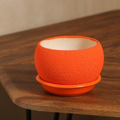 """Горшок для цветов """"Шар"""" шёлк, оранжевый, 0,4 л - Фото 1"""