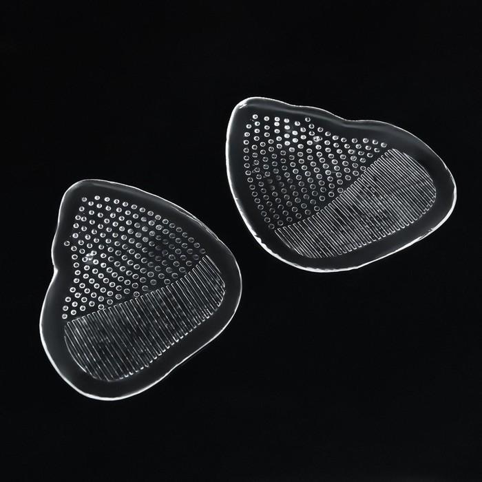 Полустельки для обуви, с протектором, силиконовые, 7 × 6,5 см, пара, цвет прозрачный