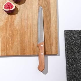 Нож кухонный Труд Вача «Ретро», для мяса, лезвие 16 см, с деревянной ручкой, цвет бежевый