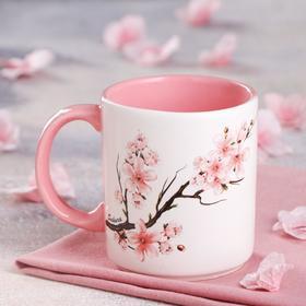 """Кружка """"Офисная"""", деколь весна, бело-розовая, 0.35 л, микс"""