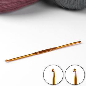 Крючок для вязания, двухсторонний, d = 2/3 мм, 13,5 см, цвет золотой Ош