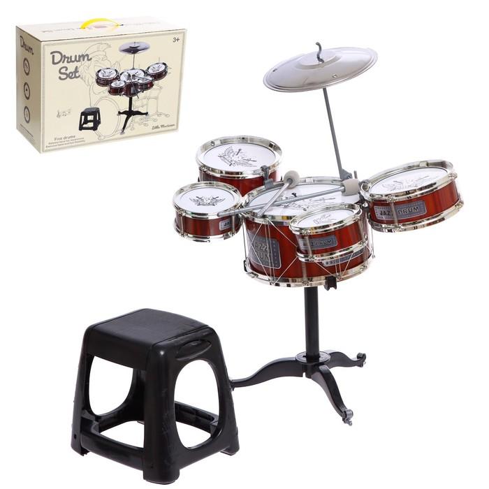 Барабанная установка «Рок», 5 барабанов, тарелка, палочки, стульчик