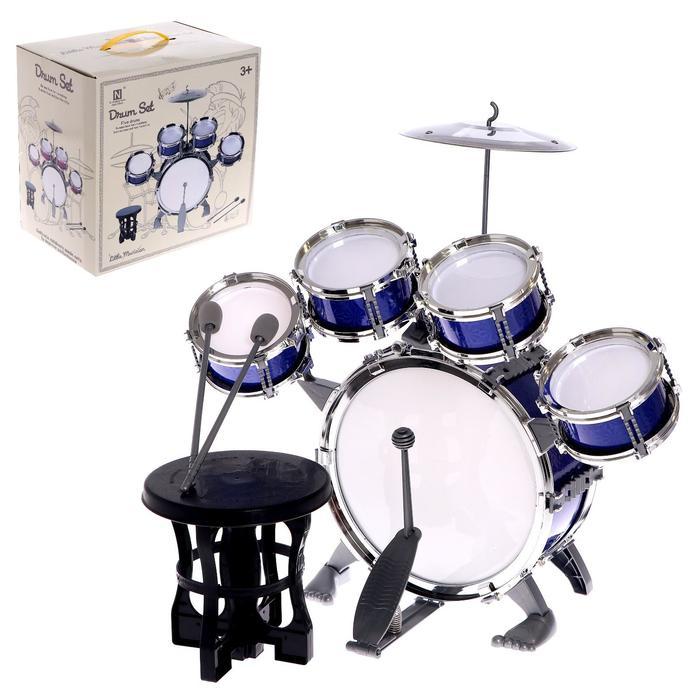 Барабанная установка «Басист», 5 барабанов, тарелка, палочки, стульчик, педаль, МИКС