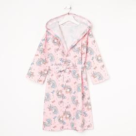 Халат для девочки, цвет розовый/принт луна, рост 92 см