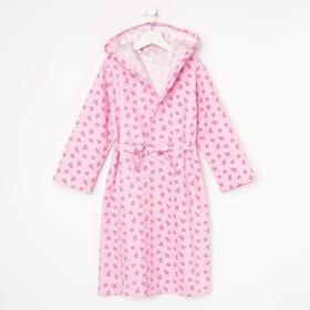 Халат для девочки, цвет розовый/принт короны, рост 92 см