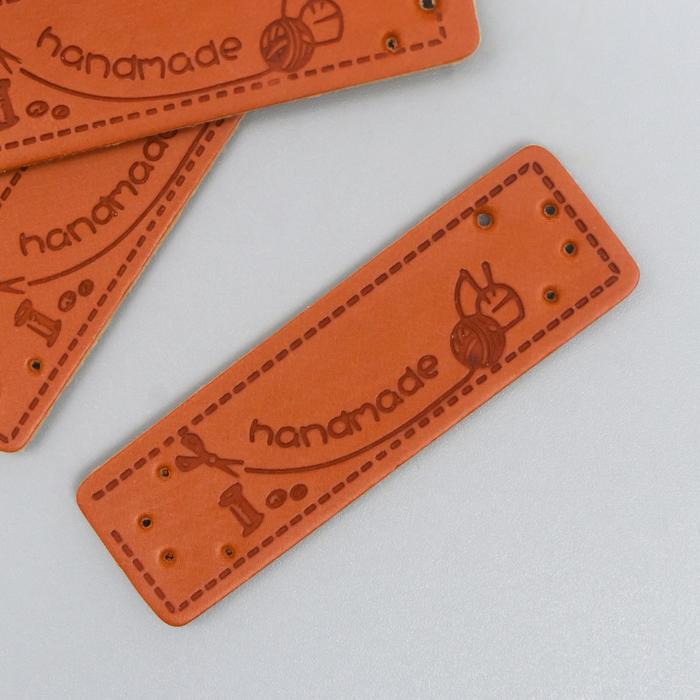 """Бирка """"Handmade"""", кожа 15х50 мм"""