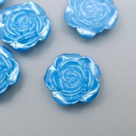 """Кабошон """"Роза"""", цвет синий перламутр 12 мм"""