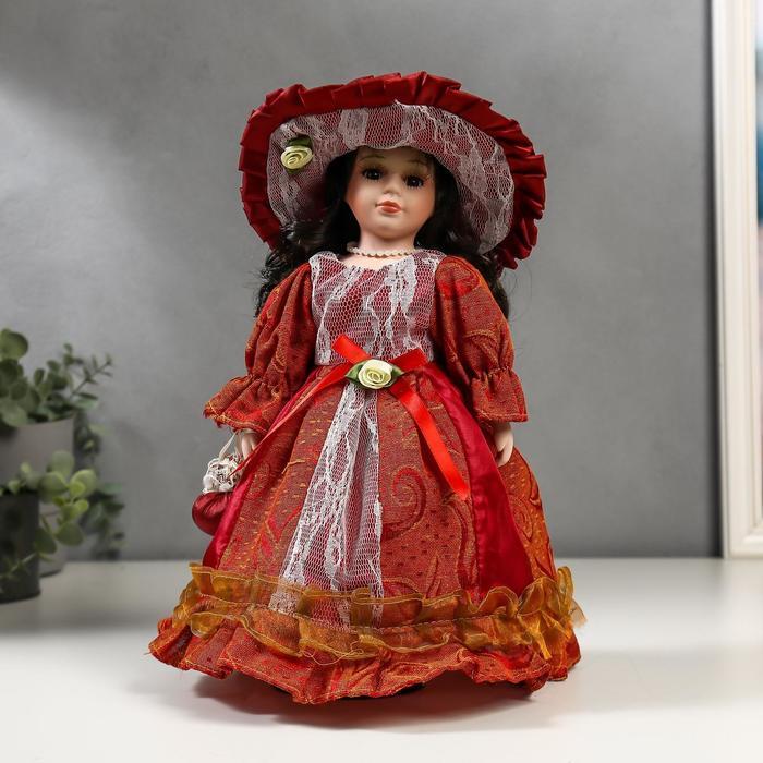 Кукла коллекционная керамика Леди Мирослава в кирпичном платье с кружевом 30 см