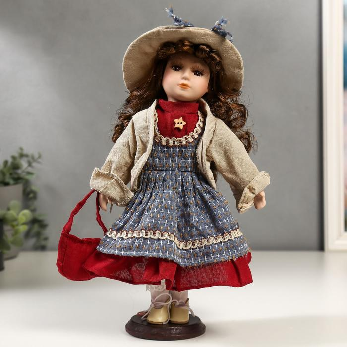 Кукла коллекционная керамика Кристина в синем платье и бежевой курточке 30 см