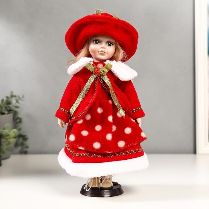 Кукла коллекционная керамика Рита в красном платье в горох 30 см