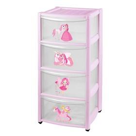Комод детский на колесах 4 ящика, цвет розовый Ош