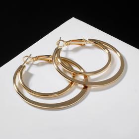 """Серьги-кольца """"Карма"""" двойной круг, цвет золото, d=4"""