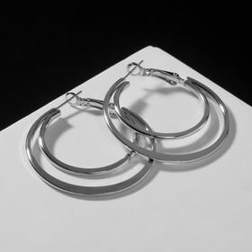 """Серьги-кольца """"Карма"""" двойной круг, цвет серебро, d=4"""