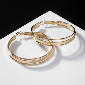 Серьги-кольца 'Карма' крупная линия, цвет золото, d=3,5 Ош