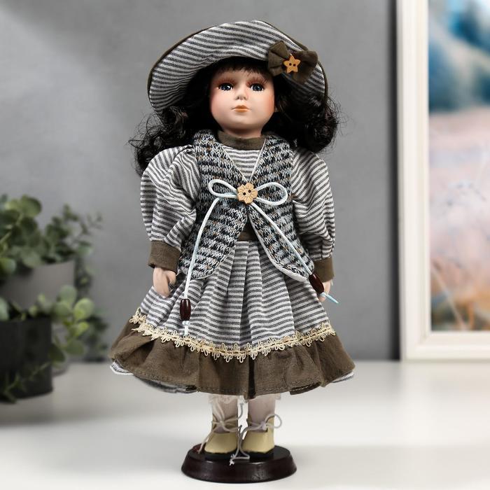 Кукла коллекционная керамика Валя в платье в полоску и вязаном жилете 30 см