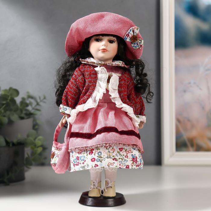 Кукла коллекционная керамика Даша в коралловом платье и бордовом джемпере 30 см