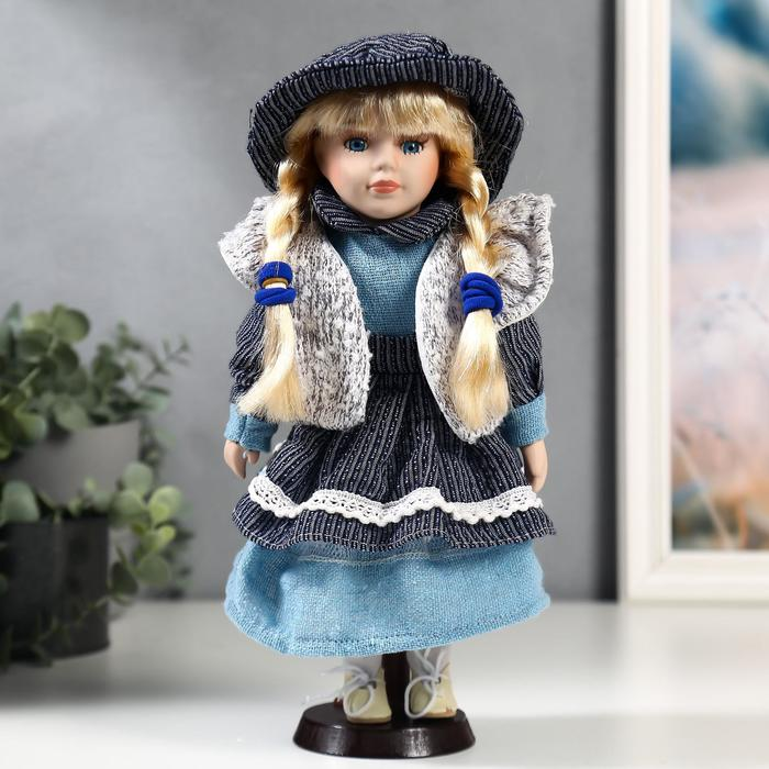 Кукла коллекционная керамика Есения в синем платье и сером кардигане 30 см