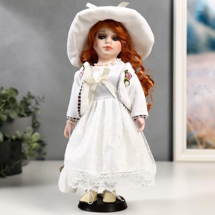 Кукла коллекционная керамика Зоя в белом платье в горошек 30 см