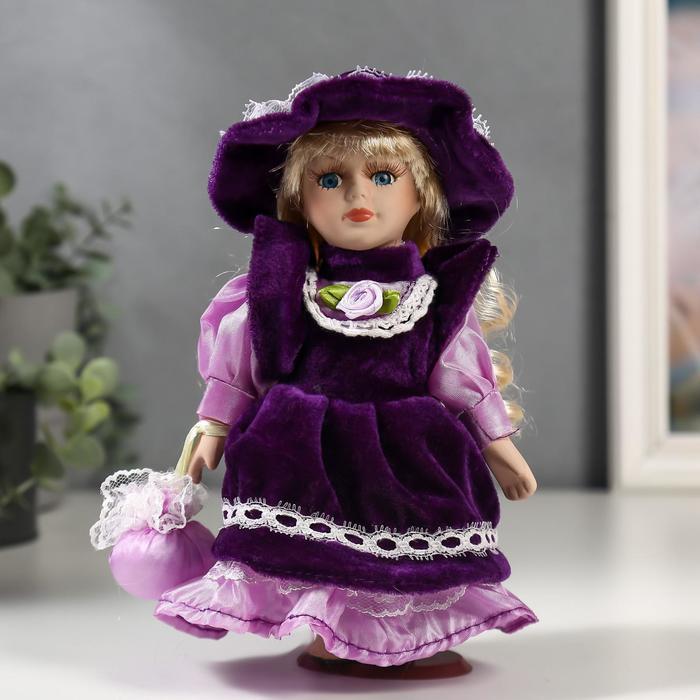 Кукла коллекционная керамика Малышка Тая в фиолетовом платье 20 см