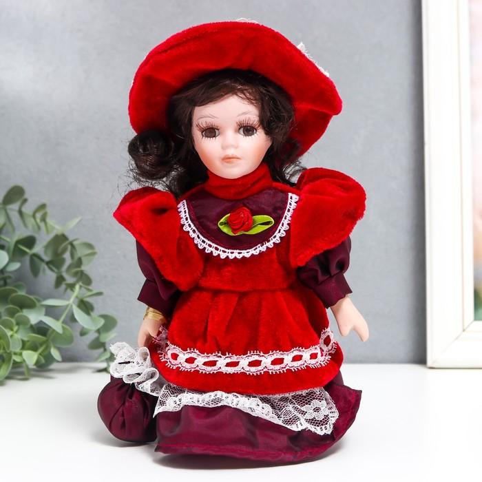Кукла коллекционная керамика Малышка Ксюша в платье цвета вина 20 см