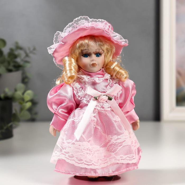 Кукла коллекционная керамика Малышка Майя в розовом платье 20 см
