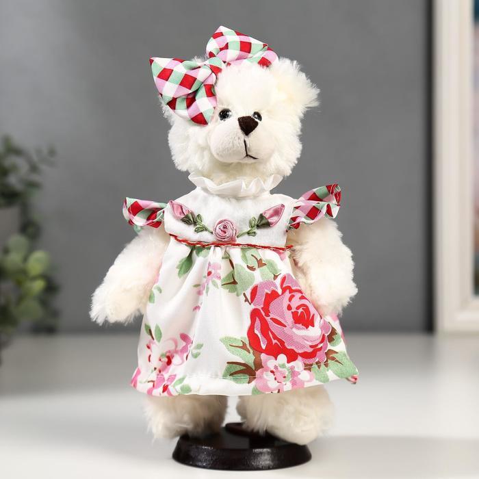 Кукла интерьерная Мишка с бантиком и в цветочном платье 25 см
