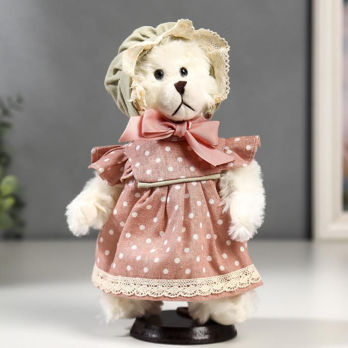 Кукла интерьерная Мишка в чепчике и в розовом платье в горошек 25 см