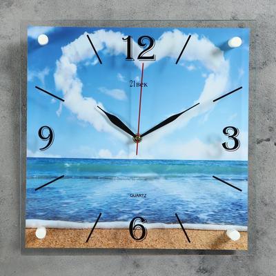 """Часы настенные квадратные """"Сердце из облаков"""" 35х35 см"""