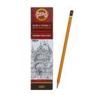 Карандаш чёрнографитный Koh-I-Noor 1500 4B, профессиональный