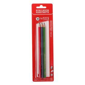 Набор карандашей чернографитных разной твердости 3 штуки Koh-i-Noor 1703, B, HB, H, в блистере