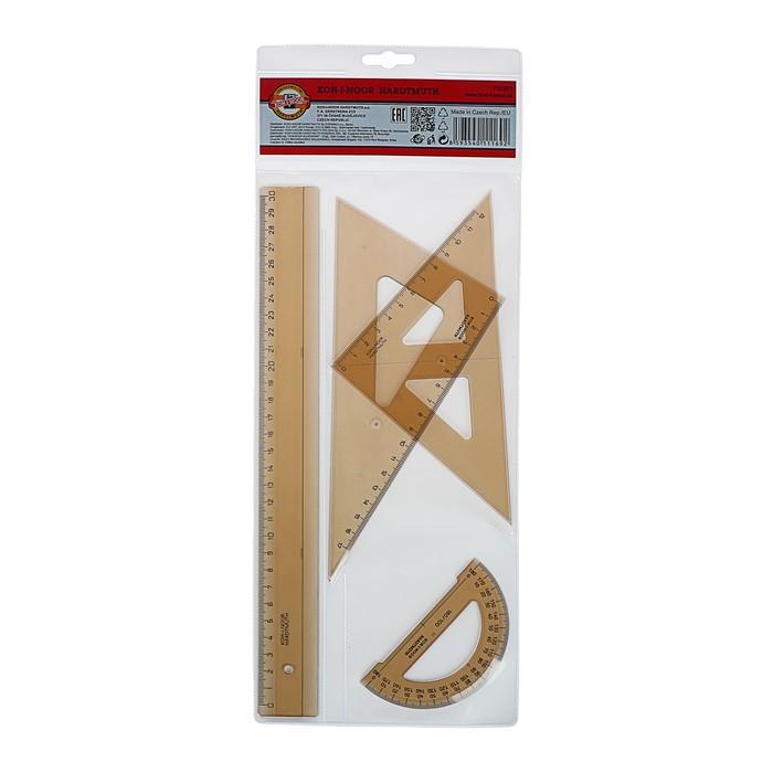 Геометрический набор Koh-I-Noor: линейка, треугольник 2 штуки, транспортир, дымчатый, с европодвесом