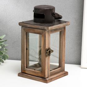 "Подсвечник дерево на 1 свечу ""Фонарь"" коричневый 23х11,5х11,5 см"
