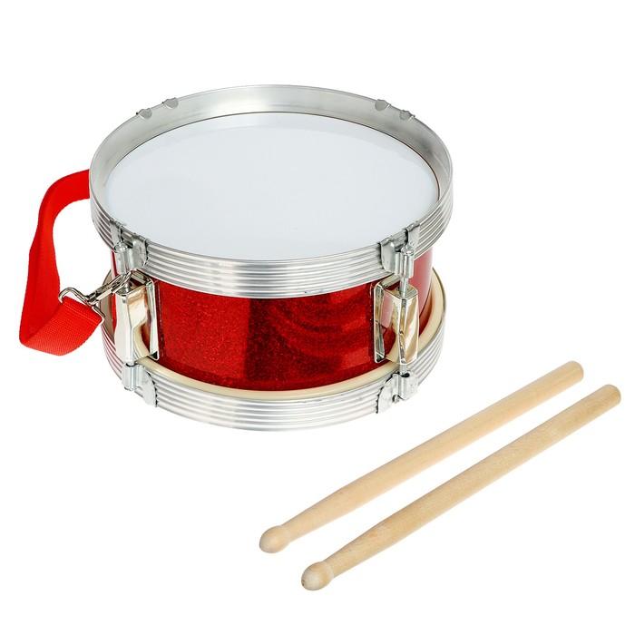 Барабан «Голд», с металлическим ободом и деревянными палочками