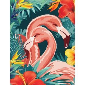 """Алмазная вышивка с частичным заполнением """"Фламинго"""" 15*21 см, холст"""