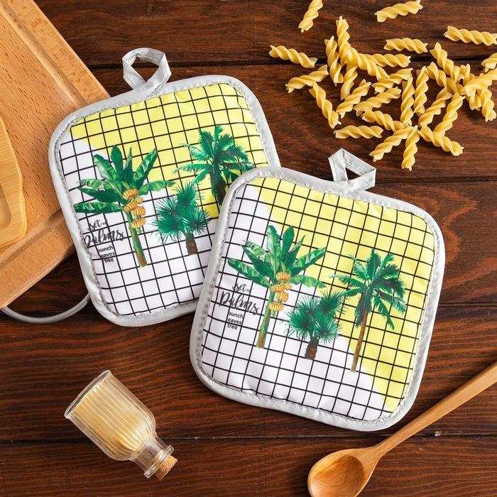 Кухонный набор Доляна Palms, прихватка 1717 см - 2 шт,100 пэ