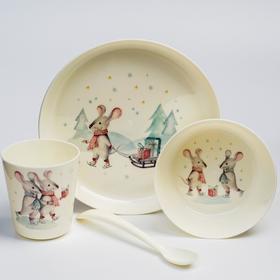 """Набор для кормления """"Радостные мышата"""" (тарелка, миска, стакан и ложка)"""