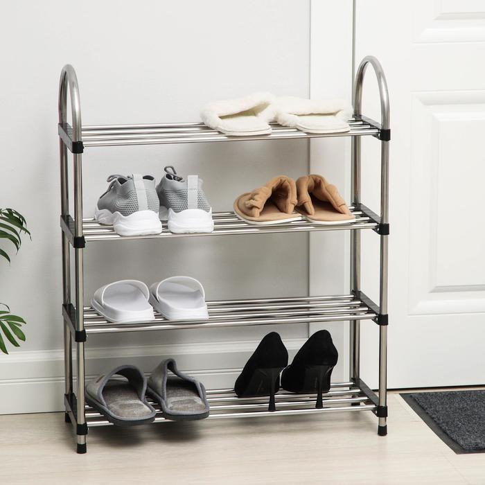 Полка для обуви, 4 яруса, 60×22×69 см, цвет хром