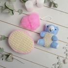 Набор банный 3 предмета: игрушка-мочалка, губка, мочалка, цвет розовый