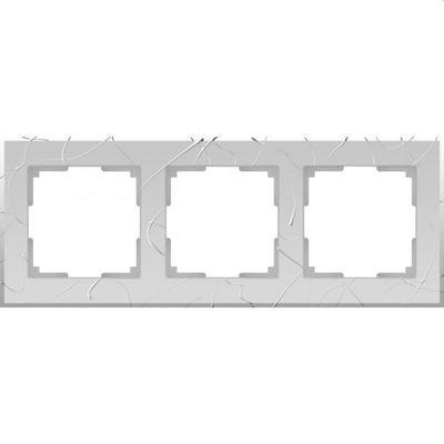 Рамка на 3 поста WL06-Frame-03, цвет серебро